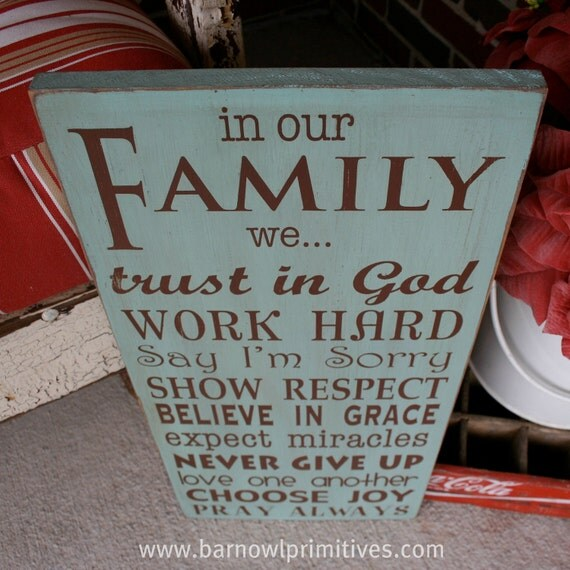 In Our Family We... Family Rules Wooden Sign Live Simply