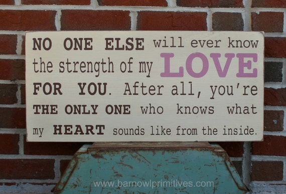 Strength of My Love Word Art Sign - The Perfect Sign for a Baby Girl's Nursery Wood Sign