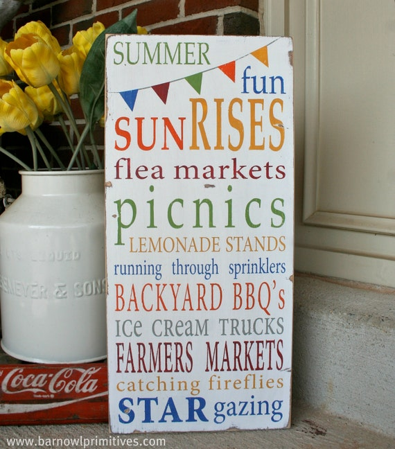 Summer Fun with Bunting Typography Word Art Sign - Limited Edition