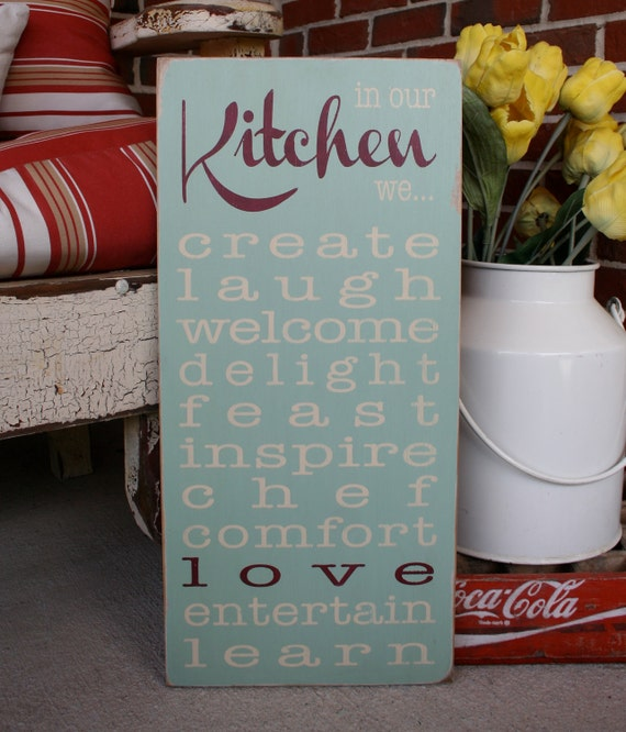 In Our Kitchen We - Rules Sign - Typography Word Art Free Shipping