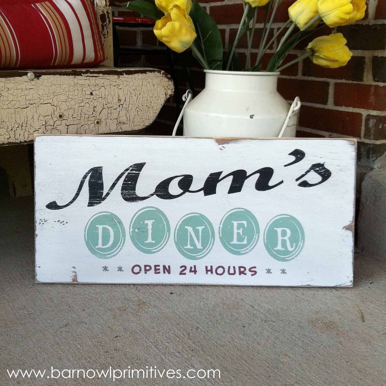 Moms Diner Open 24 Hours Vintage Inspired Kitchen Sign