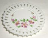 Vintage Fenton Milk Glass Dish - Hand Painted PINK WILD ROSES