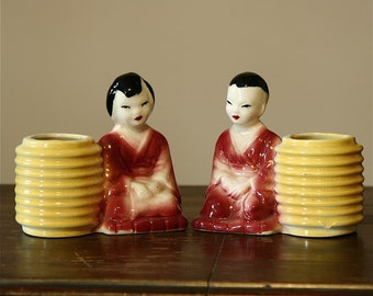 Vintage Pottery Planters - Asian Boy and Girl