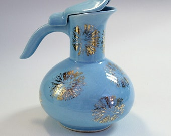 Syrup Pitcher 1950s Baby Blue and Gold Luster Ceramic