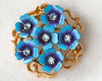 Vintage Blue Brooch by Avon Posies and Rhinestones