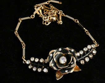 Vintage Choker Necklace - Gothic Black Rose and Crystals REDUCED PRICE
