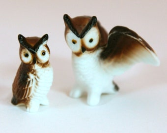 Vintage Owl Figurines - Mama and Baby