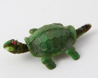 Vintage REIDER Celluloid Nodder Turtle - Green - 1940s German Made Toy