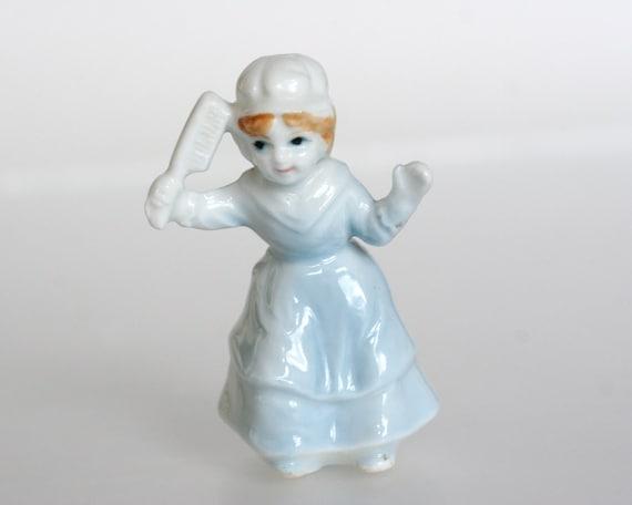Miniature Porcelain Nursery Rhyme Figurine - Girl with Hair Brush