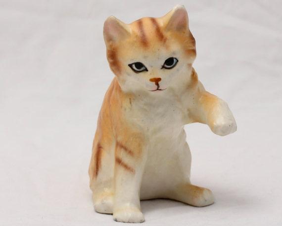 Napco Striped Cat Figurine - Vintage Ceramic Knick Knack