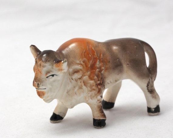 Vintage Bison or Buffalo in Bone China Porcelain