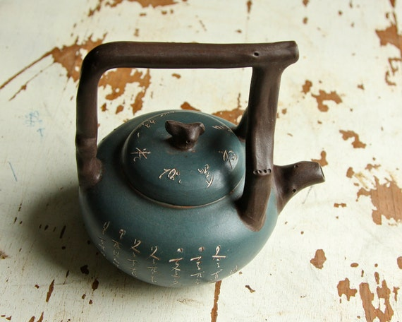 Small Yixing Teapot - Blue Green with Rustic 'Wood' Handle