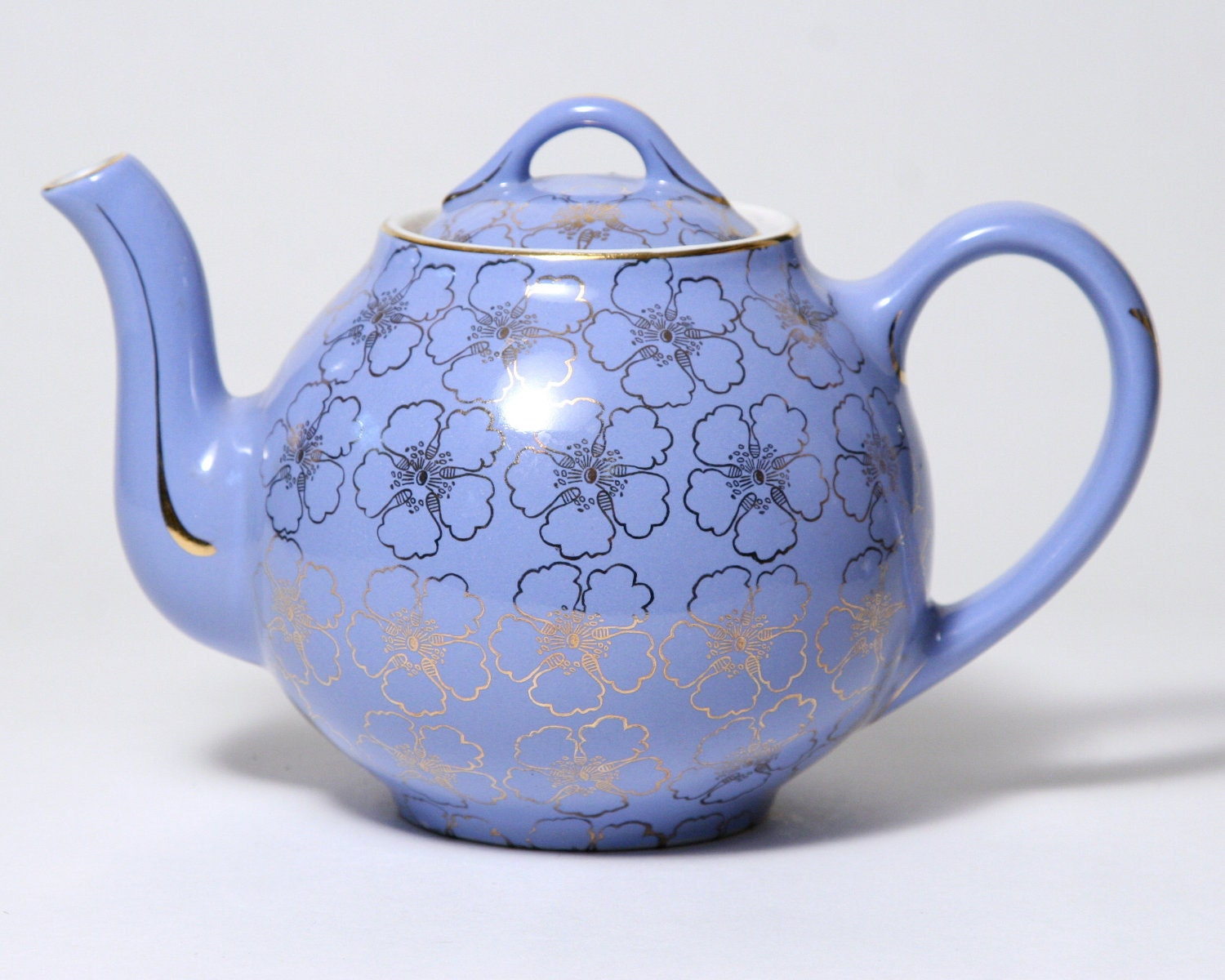 Blue Ceramic Teapot Hall China French 6 Cup