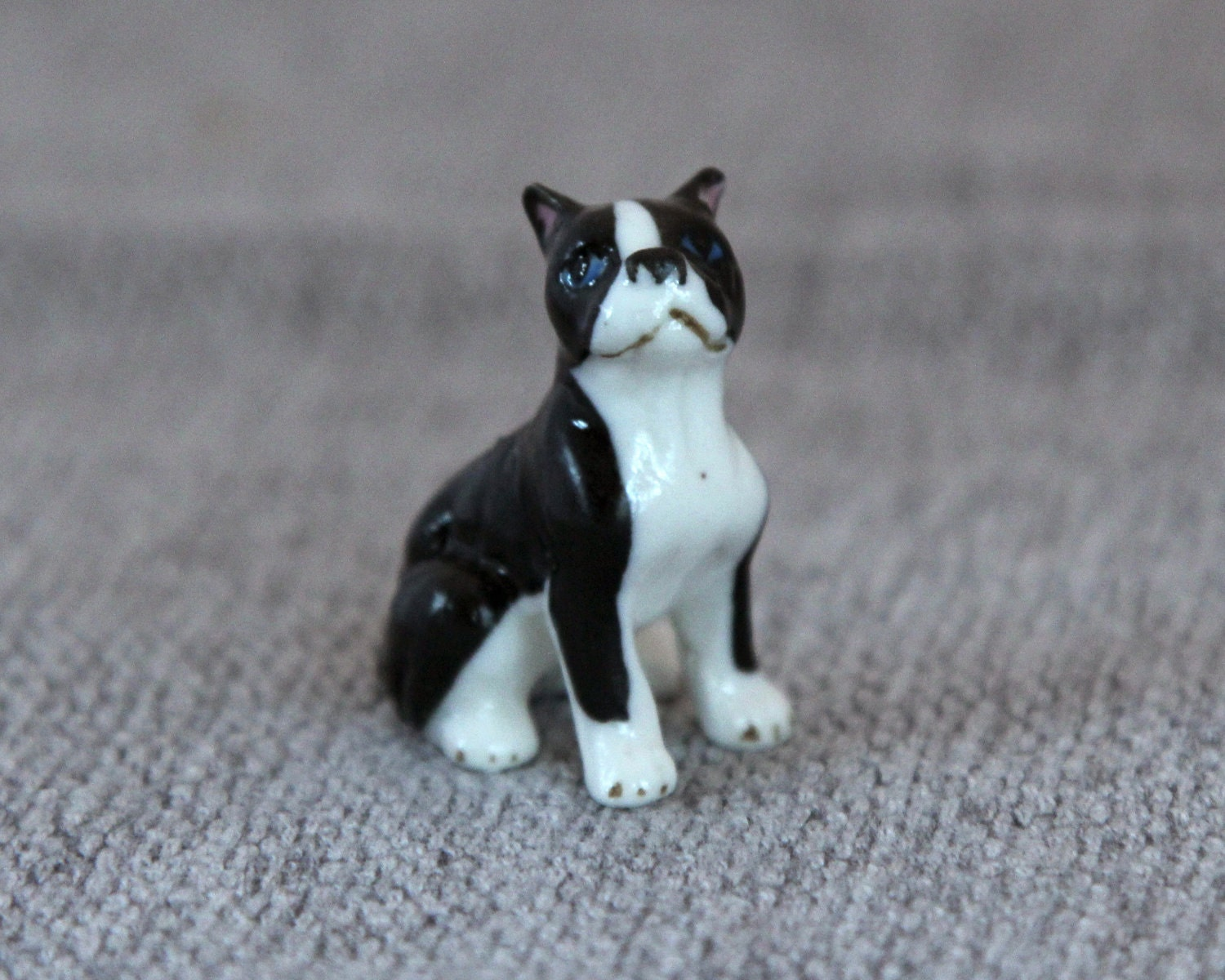 miniature boston terrier mini boston terrier dog figurine in bone china 523
