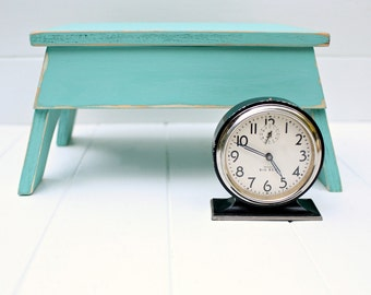 Wood Vintage Style Step Stool No. 2 in Aqua Handmade by Circle Creek Home