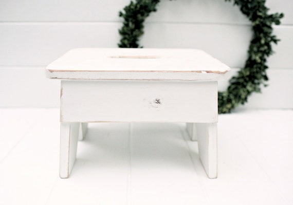 Vintage Style Step Stool No. 3 in White Handmade by Circle Creek Home