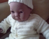 It's A Boy Baby Shower Gift Set, Cream Ribbed  Sweater and Hat