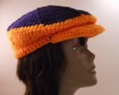 Unisex Orange and Dark Blue Crocheted Cap
