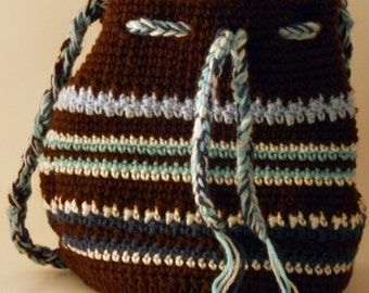 OOAK Blue And Chocolate Drawstring Bag With Braided Strap