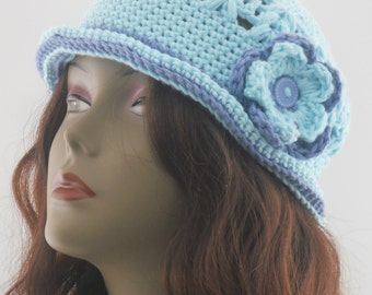 Cotton Cloche With Flower Light Blue and Denim  Original Design