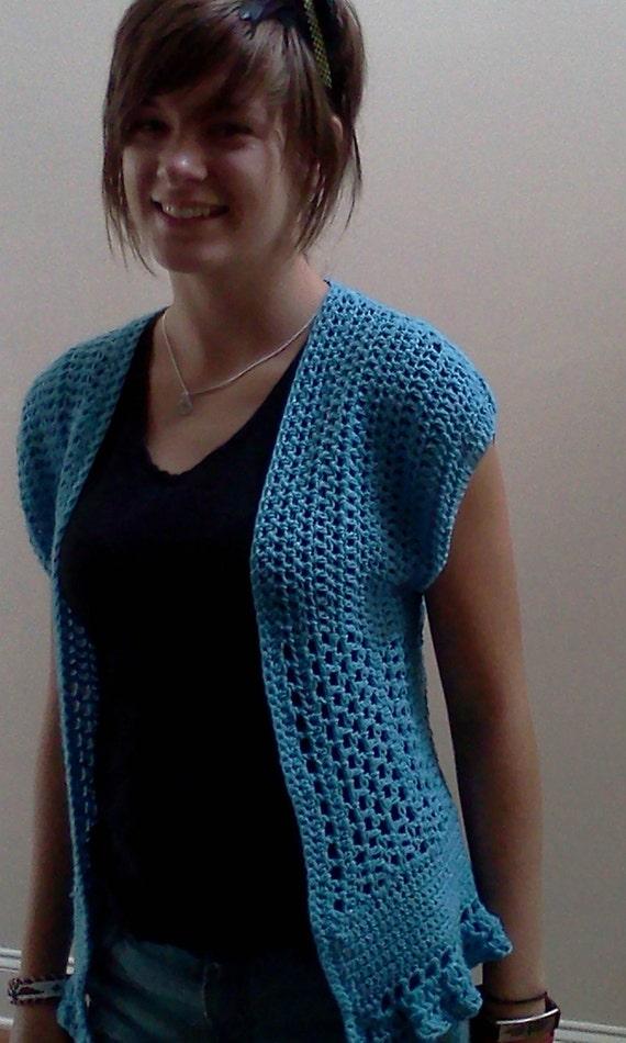 Crochet Short Sleeve Jacket Teal Vest Cover-up