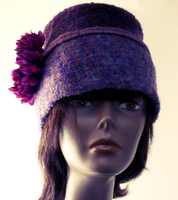 Womens Felted Hats Collection-OOAK 1960s style Purple Crochet Felted Fez with adjustable Flower Headband