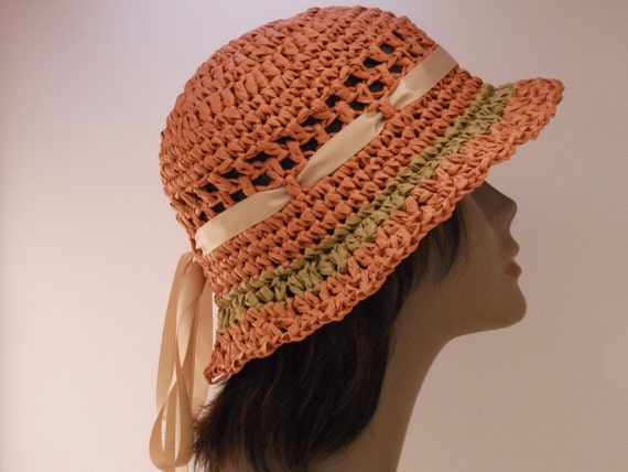 Sun Hat Crochet Coral Cloche With Natural straw trim and brown satin ribbon can be lined for Natural Hair