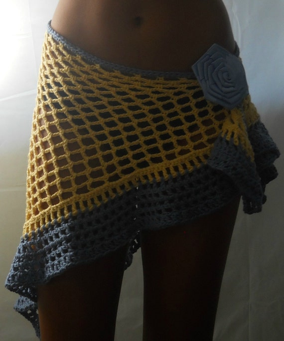 Yellow and Blue Cotton Beach Shawl or  Swimsuit Cover Up Winter Cruise Wear