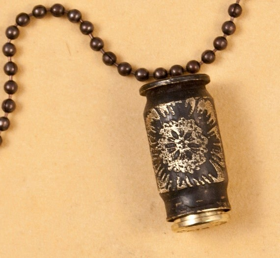Etched bullet time capsule - bullet jewelry