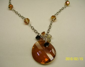 Swarovski copper crystal necklace