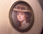 Gorgeous Small 1940s Vintage Italian Framed Lady's Portrait Wall Hanging