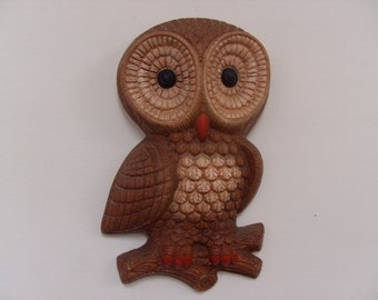 Adorable Vintage 1960s-70s Wise Old Owl Wall Hanging