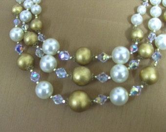 Vintage 1950s-60s Beaded Elegance Tri Level Multi Strand Faux Pearl & Crystal Beaded Choker Necklace