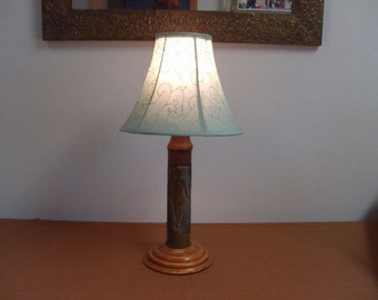 Vintage 1930s-40s WWII Art Deco Hand Carved Artillery Shell Italian Table Lamp