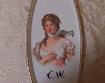 Antique 1800s Victorian Ladys Portrait Porcelain Plate Free Shipping