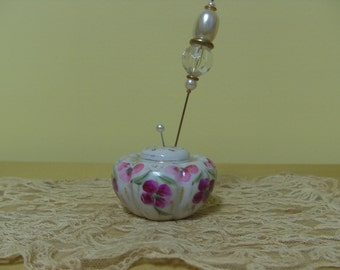 Antique Hand Painted Porcelain Hat Pin Holder