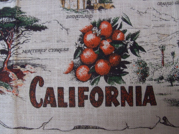 Vintage 1960s Linen Kitchen Towel
