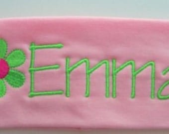 Embroidered Stretch Headbands w/name and flower design