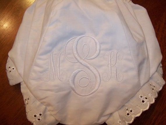 White Monogrammed Baby Bloomers-Free Personalization