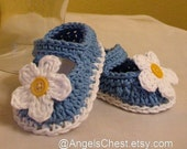MaryJane Slippers Booties with Flowers Crochet Newborn to 6 months