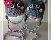 PDF Pattern Happy Hippo earflat hat Boy and Girl Sizes Preemie To 4 Years No. 12