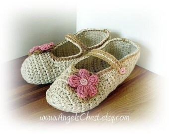 PDF Crochet Pattern MaryJanes Slippers With Flowers Sizes Preteen To Adult No. 8