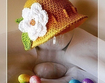 PDF Pattern Cute Easter Cloche/Bucket hat with detachable flowers Sizes Preemie TO 4 YEARS Beanie No. 6