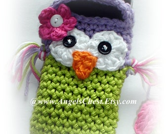 Cute Crochet OWL Cell Phone Cozy MP3 iPods Camera Cozy by AngelsChest Boutique