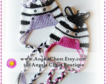 PDF PATTERN Cute Hand Crochet ZEBRA Hat Newborn to Adult Size Boutique Design - No. 28 by AngelsChest