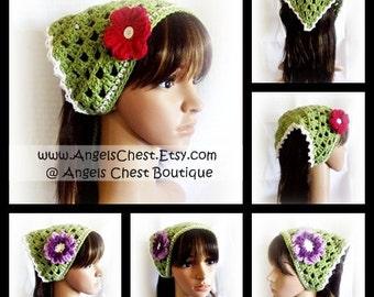 Crochet Cute Hair Kerchief Hair Accessories Spring Fashion Boho Head Wraps - PDF PATTERN/Photo Tutorial No. 37 by AngelsChest