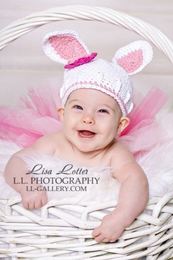 PDF PATTERN Easter Some Bunny is cute beanie hat with flowers Newborn to Toddler size Pattern No. 7