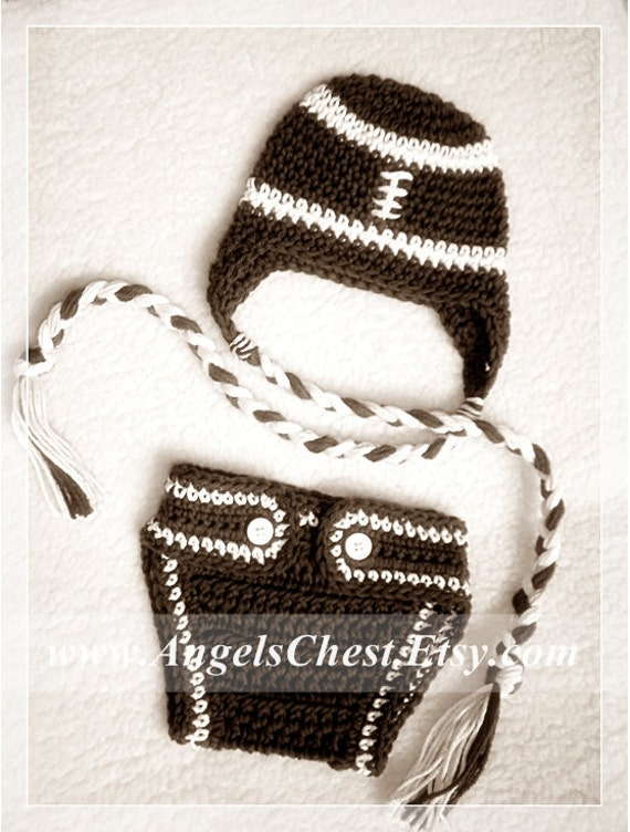 PDF Crochet Pattern FOOTBALL Hat and Diaper Cozy Sizes Newborn to Adult No. 21