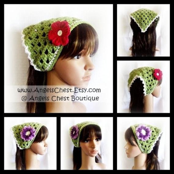Crochet Hair Accessories Tutorial : Crochet Cute Hair Kerchief Hair Accessories Spring Fashion Boho Head ...