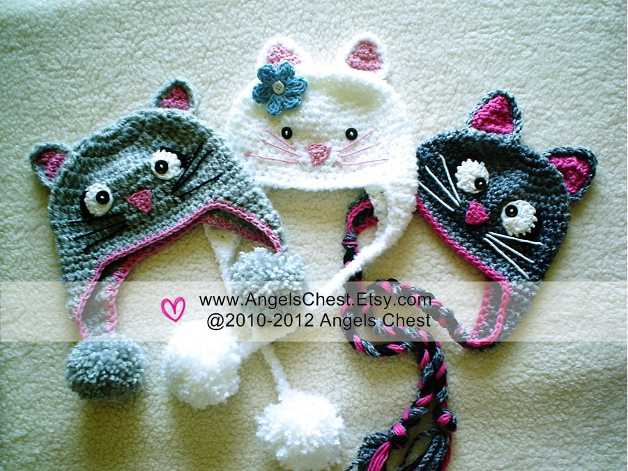 Crochet Pattern For A Hat For A Cat : PDF Crochet Tutorial Pattern Here KITTY CAT Earflap Hat Prop